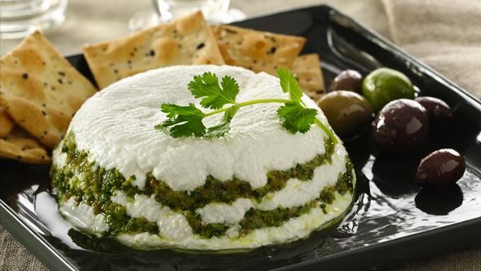 Yogurt Cheese Torta with Cilantro Pesto Recipe | Yummly