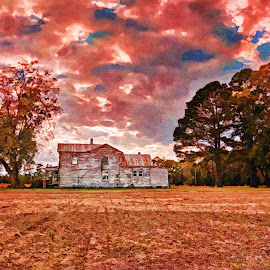 Abandoned by Robert Mullen - Digital Art Places ( clouds, field, old house, farm, home, color, sunset, sundown, farmland, farmhouse, house, farm field, abandoned )