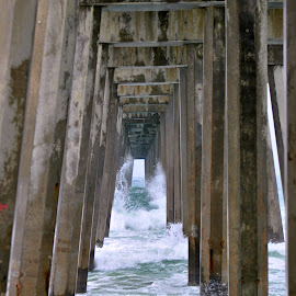 Stormy Sea by A.j. Amos - Buildings & Architecture Bridges & Suspended Structures ( waterscape, waves, pier, ocean, storm )