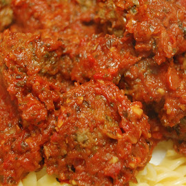 Spicy Meatballs in Red Pepper Sauce on Pasta by Paul Nelson - Food & Drink Plated Food
