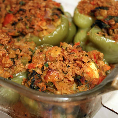 Mediterranean Inspired Lentil Stuffed Peppers