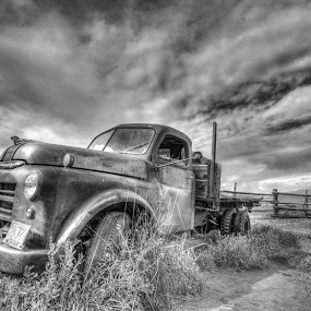 Not Forgotten by Gary Piazza - Transportation Automobiles ( clouds, sony, hdr, utah, black and white, old truck )