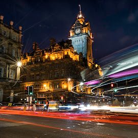 Balmoral Hotel Edinburgh by Arpad Jakab Peter - Abstract Light Painting