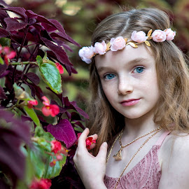 Amoung the Flowers by Sylvester Fourroux - Babies & Children Child Portraits