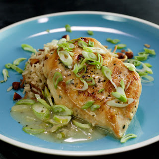 Spring Onion Chicken Breasts and Rice Pilaf with Almonds