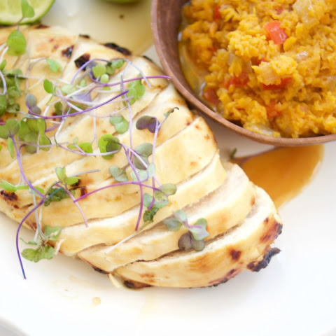 Spanish Sweet Potato Rice with Honey Lime Chicken