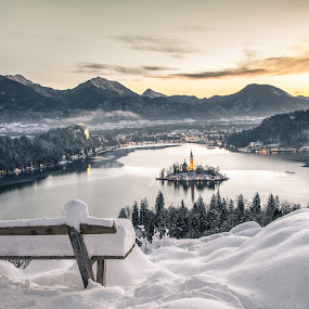 Winter in Bled by Aleš Mezek - Landscapes Sunsets & Sunrises ( bled winter photo, bled winter, bled island in the winter, bled, bled in the winter,  )