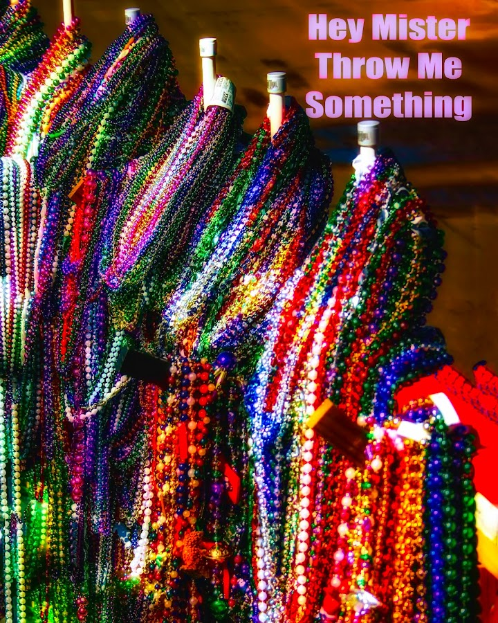 Throw Me Something Mister by Dave Walters - Typography Captioned Photos ( mardi gras, celebration, beads, new orleans, colors )