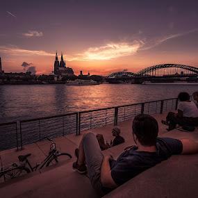 Sunset Dom by Goran Dzh - City,  Street & Park  Street Scenes ( nikon, dom, city skyline, city, cologne, germany, sunset, köln, nikond750, cityscape, tamron 15-30, tamron,  )