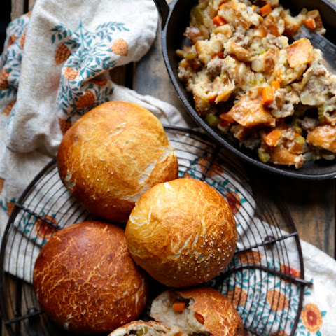 Sausage Sour Dough Stuffing Filled Pretzel Rolls