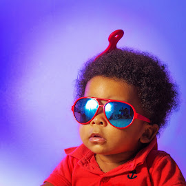 Too cool to baby by Robert III - Babies & Children Babies ( red, blue, afro, hair pick, sunglasses, baby boy, portrait )
