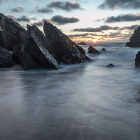 adraga by Miguel Lapa - Landscapes Waterscapes ( sunset, adraga, sintra, portuga )