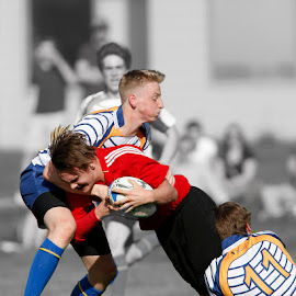 Painful by Keith Johnston - Sports & Fitness Rugby ( field, player, ball carrier, action, painful, runner, tackle, rugby )