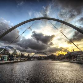 The Millennium Bridge by Adam Lang - Buildings & Architecture Bridges & Suspended Structures ( sky, sunset, gateshead, millennium bridge, tyne bridge, newcastle )
