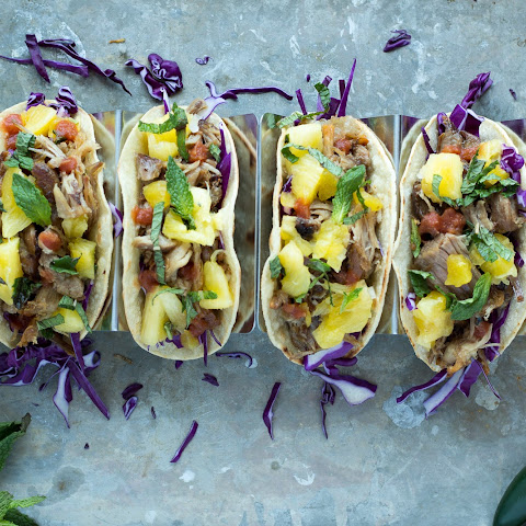 Slow Cooker Pork Tacos with Pineapple Mint Salsa