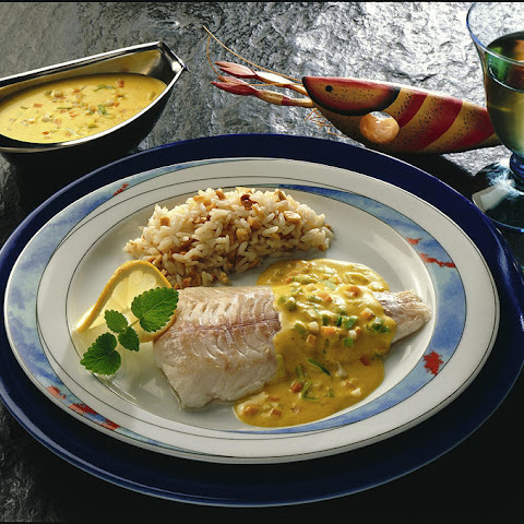 Poached Haddock with Peanut Rice