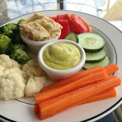 Veggie platter with hummus and creamy vegan dip (no pita for the celiac!)