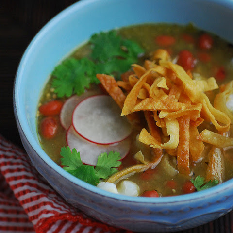 Pork-Free Pozole with Red Beans for No Croutons Required