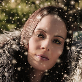 Snow Queen by Carmen Bouwer - People Portraits of Women ( face, model, cold, woman, snow, portrait, eyes )