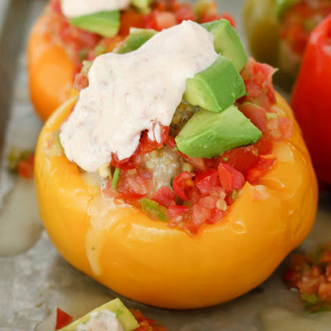 Pressure Cooker Mexican Stuffed Bell Peppers with Chipotle Lime Sauce