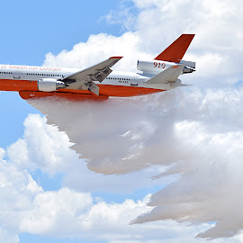 Firefighter Tanker Dropping its Load by Shawn Thomas - Transportation Airplanes