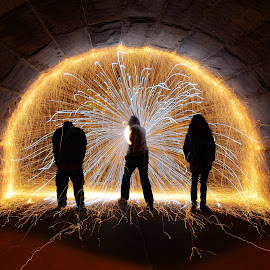 Light at the end of the tunnel by Arturo Gonzalez - Abstract Light Painting ( steel wool, steelwool, chicago, night shot, light art )
