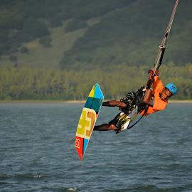 Kite surfer by Jawaira Ayesha - Sports & Fitness Surfing ( watersport kite surfing, watersports, kite surfing, kite surfer, sports in the air, kite surfing mauritius, kite surfing le morne, wave surfing, kite tossing, kite surfing in the air )
