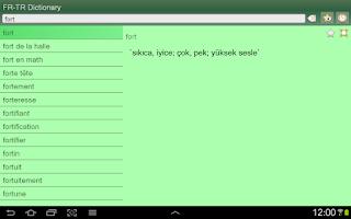 Screenshot of French Turkish Dictionary