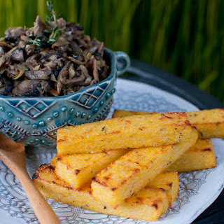 Herbed Polenta Fries with Mushroom & Artichoke Fricassée