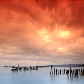 The Burning Cloud by Sunny Wong - Landscapes Weather ( sky, village, cloud, pwcautumn-dq, ocean, pwcredscapes )