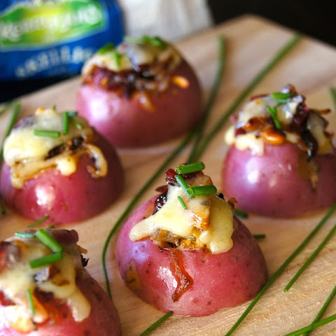 Sweet and Savory Cheddar Potato Bites with Cranberry-Pecan Caramelized Onions