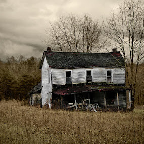 Abandoned Homestead by Josh Mayes - Landscapes Prairies, Meadows & Fields ( andrew, home, hills, old, sepia, house, prairie, wyeth, homestead, field, dilapidated, meadow, dark, trees, cloudy, hocking, abandoned )