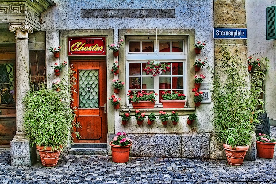 Lucerne Switzerland Shop by Dennis Granzow - Landscapes Travel ( europe, digital art, switzerland, small shop, lucerne, cobblestone walk )