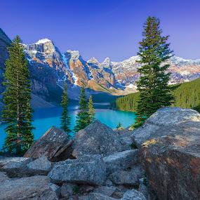 Moraine Lake Morning by Brian Adamson - Landscapes Mountains & Hills ( mountains, alberta, banff, rocks, moraine lake )