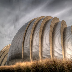 Kauffman Performing Arts Center  by David Shayani - Buildings & Architecture Architectural Detail ( different, olympus e300, america, usa, photography, picasa editor, four thirds, sky, dark, grey, clouds, building, structure, hdr, grass, midwest, overcast, high dynamic range, steel, lens, kauffman performing arts center, angle, photomatix pro, kansas city missouri, 14-45mm )