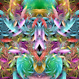 Double Devil Pastel by Peggi Wolfe - Illustration Abstract & Patterns ( abstract, pastel, wolfepaw, gift, unique, bright, illustration, fun, double, devil, digital, print, décor, pattern, color, unusual, fractal )