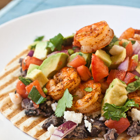 Grilled Shrimp Tostadas with Mashed Black Beans and Avocado Salsa Fresca