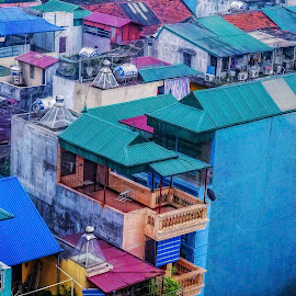 Ho Chi Minh City by Barb Hauxwell - Digital Art Places ( magenta, blue, vietnam, cityscape, apartments, ho chi minh city, balcony )