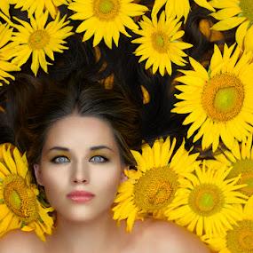 Sunflowers and she by Cvetka Zavernik - People Portraits of Women ( face, sunflowers, yellow, beauty, flowers, hair, women )