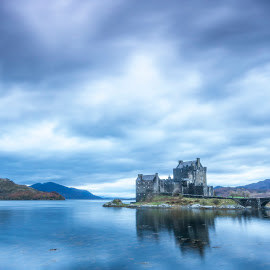 Cool castle by Ian Pinn - Landscapes Waterscapes ( scotland, dawn, cold, eilean donan, blue hour, loch )