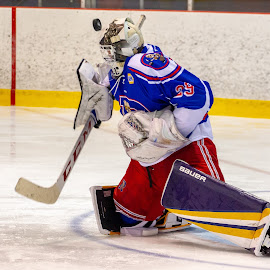 The puck ? by Yves Sansoucy - Sports & Fitness Ice hockey ( hockey, goalie, blue, save, puck, ice, net )
