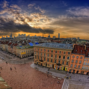 City Sunset ... by Pawel Tomaszewicz - Buildings & Architecture Other Exteriors ( fisheye, hdr, sunset, cityscape, warsaw, poland, city )