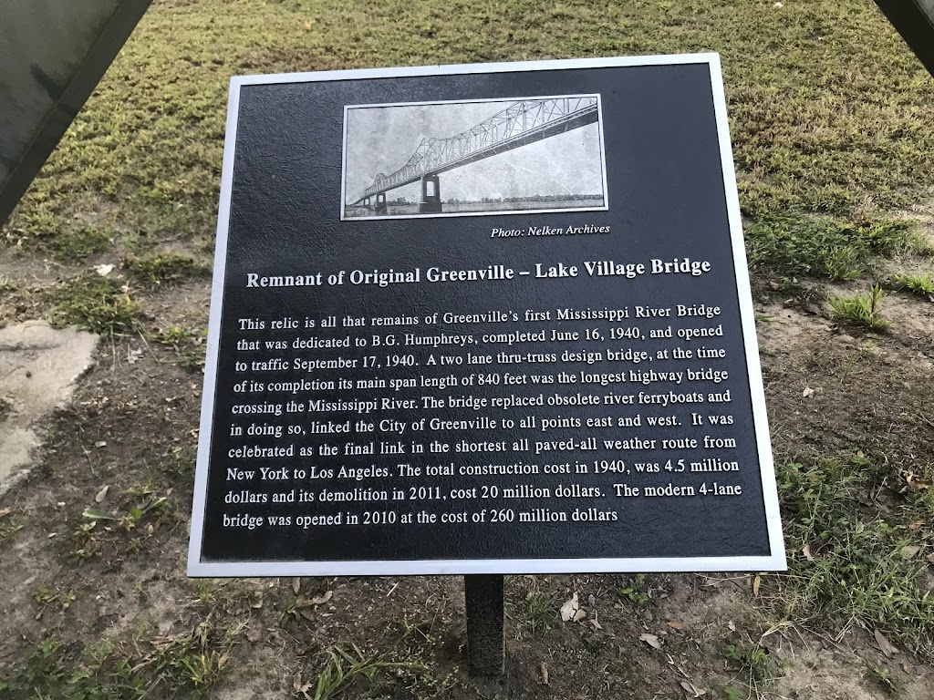 This relic is all that remains of Mississippi's River Bridge that was dedicated to B.G. Humphreys, completed June 16, 1940, and opened to traffic September 17, 1940. A two lane thru-truss design ...