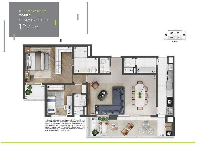 Planta Opção - 127 m²