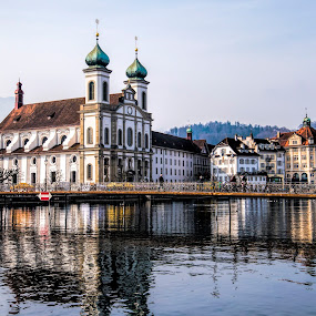Lucerne by Pravine Chester - City,  Street & Park  Historic Districts ( water, street, reflections, switzerland, cityscape, landscape, lucerne, river, city,  )