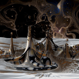 Ghost Skies Over Parrish by Rick Eskridge - Illustration Sci Fi & Fantasy ( fantasy, mb3d, jwildfire, fractal, twisted brush )