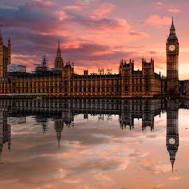 I love London by Balazs Romsics - Buildings & Architecture Public & Historical ( balazs romsics, mirror, water, editorial, london, photographer, big ben, houses of parliament )