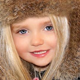 Fur Hat Smile by Cheryl Korotky - Babies & Children Child Portraits