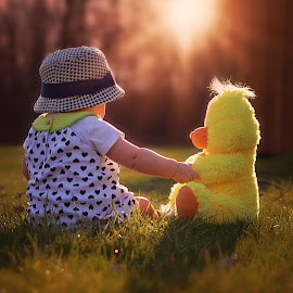 Meadow by Darya Morreale - Babies & Children Children Candids ( friends, sunset, meadow, duck, baby girl )