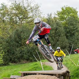 by Nick Moor - Sports & Fitness Cycling ( mountain biking, bar turn, dh, downhill, mtb, racing, racer, jump )